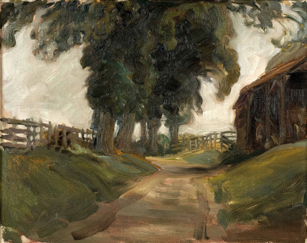 Study of a lane and barn