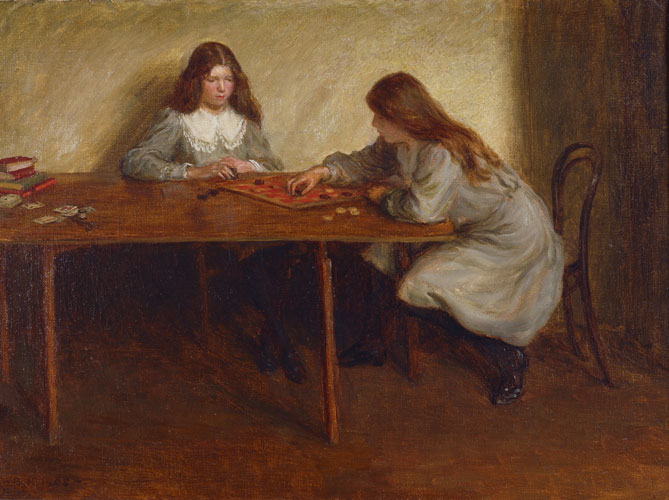 Playing draughts - the artist's sisters